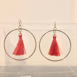Gold Hoops with Red Tassel Earrings